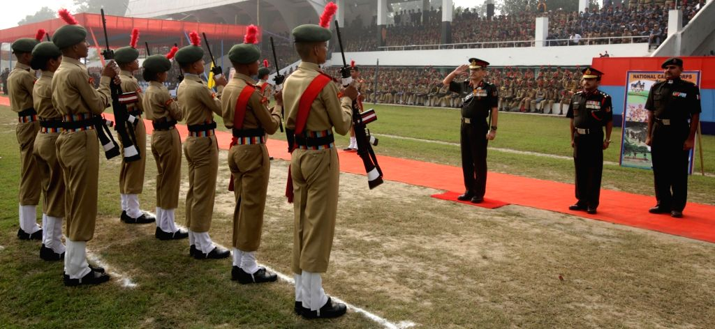 NCC cadets salute West Bengal and Sikkim Directorate Additional Director General VSM Maj. Gen  L.B Chand  during 68th NCC Day Celebrations at Fort William in Kolkata on Nov 27, 2016.