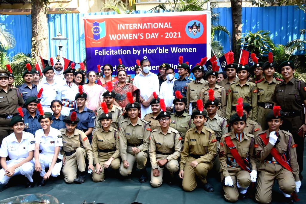 """NCC Girls Cadet Celebrate """"International Women Day"""" with Yashomati Chandrakant Thakur, Minister for Woman and Child Development in Government of Maharashtra on Monday 08th March, ..."""