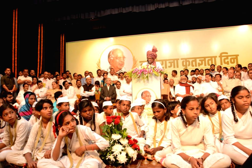 NCP chief Sharad Pawar addresses during his 80th birthday celebrations in Mumbai on Dec 12, 2019.