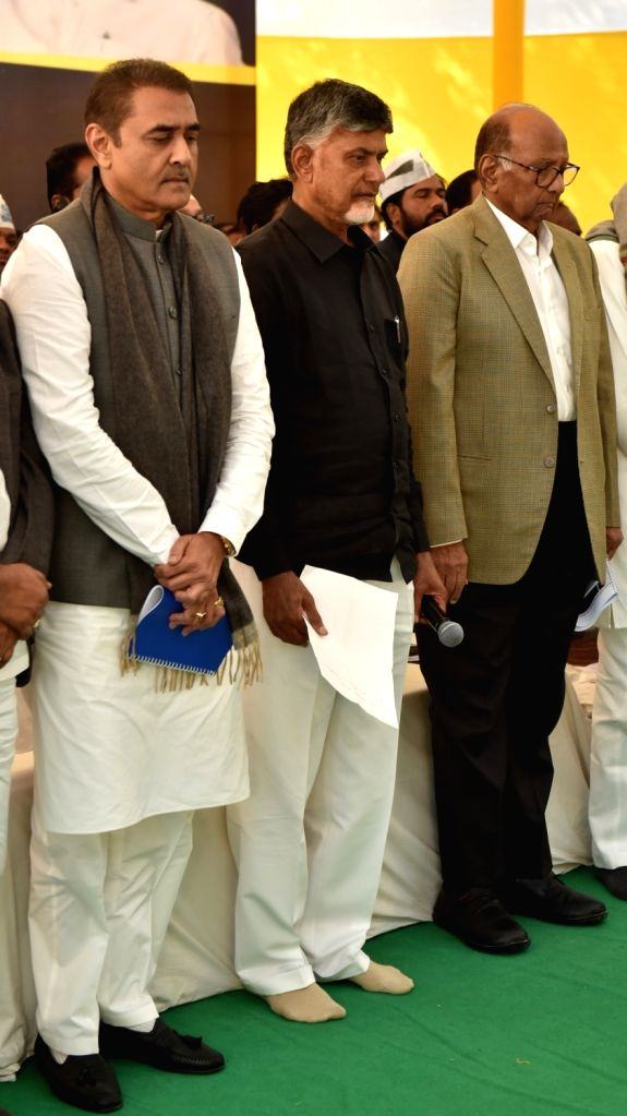 NCP chief Sharad Pawar and party leader Praful Patel with Andhra Pradesh Chief Minister N. Chandrababu Naidu, who began a 12-hour long fast demanding the Centre to accord special category ... - N. Chandrababu Naidu and Praful Patel