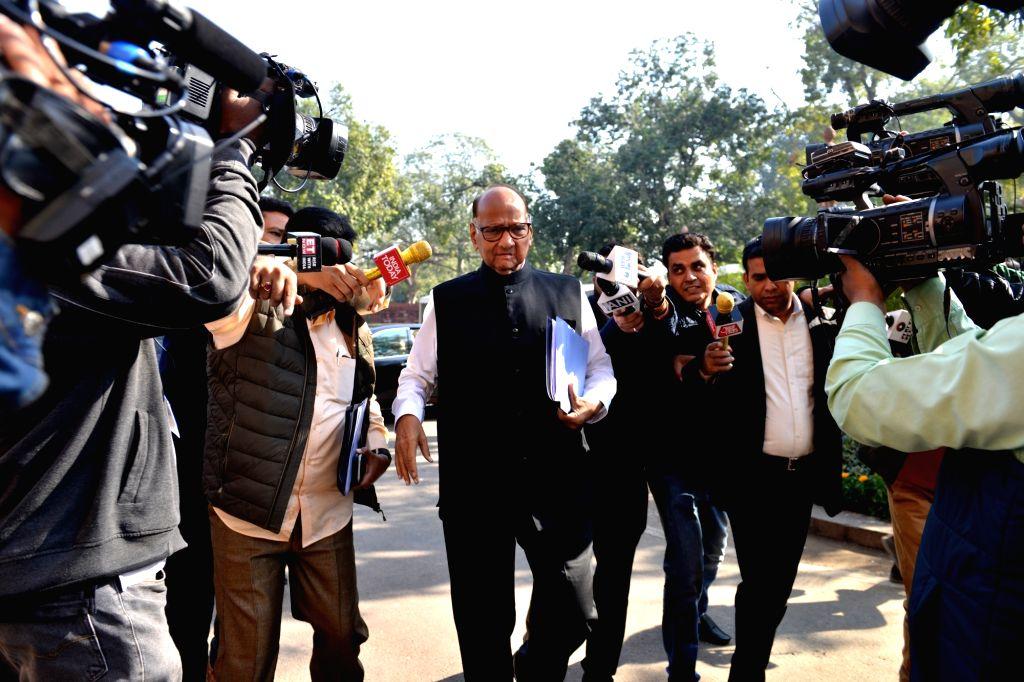 NCP chief Sharad Pawar at Parliament in New Delhi on Dec 3, 2019.