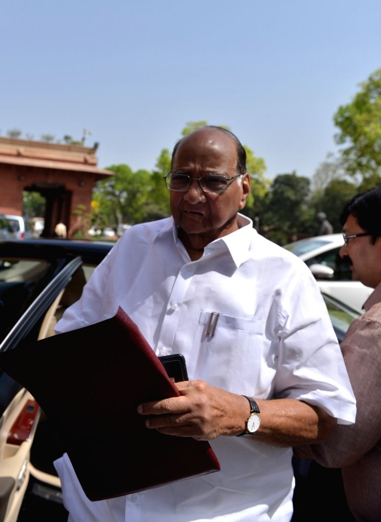 NCP chief Sharad Pawar at Parliament on March 27, 2018
