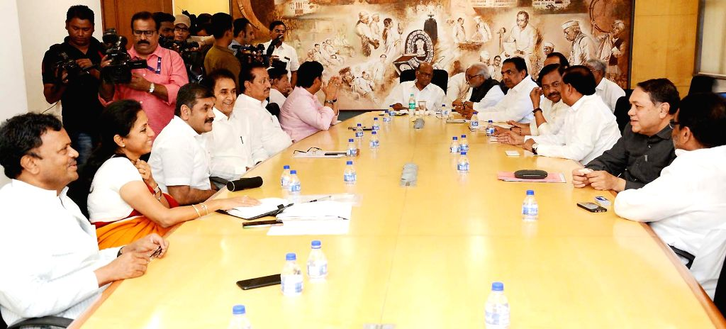 NCP chief Sharad Pawar attends a party meeting in Mumbai on Feb 14, 2019.