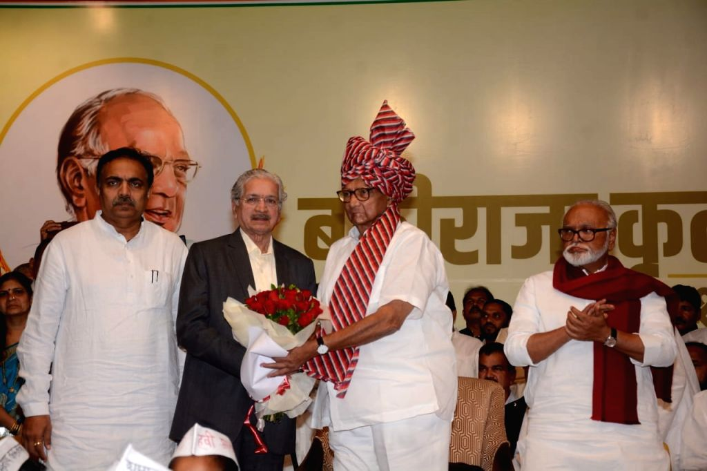 NCP chief Sharad Pawar being greeted during his 80th birthday celebrations in Mumbai on Dec 12, 2019.