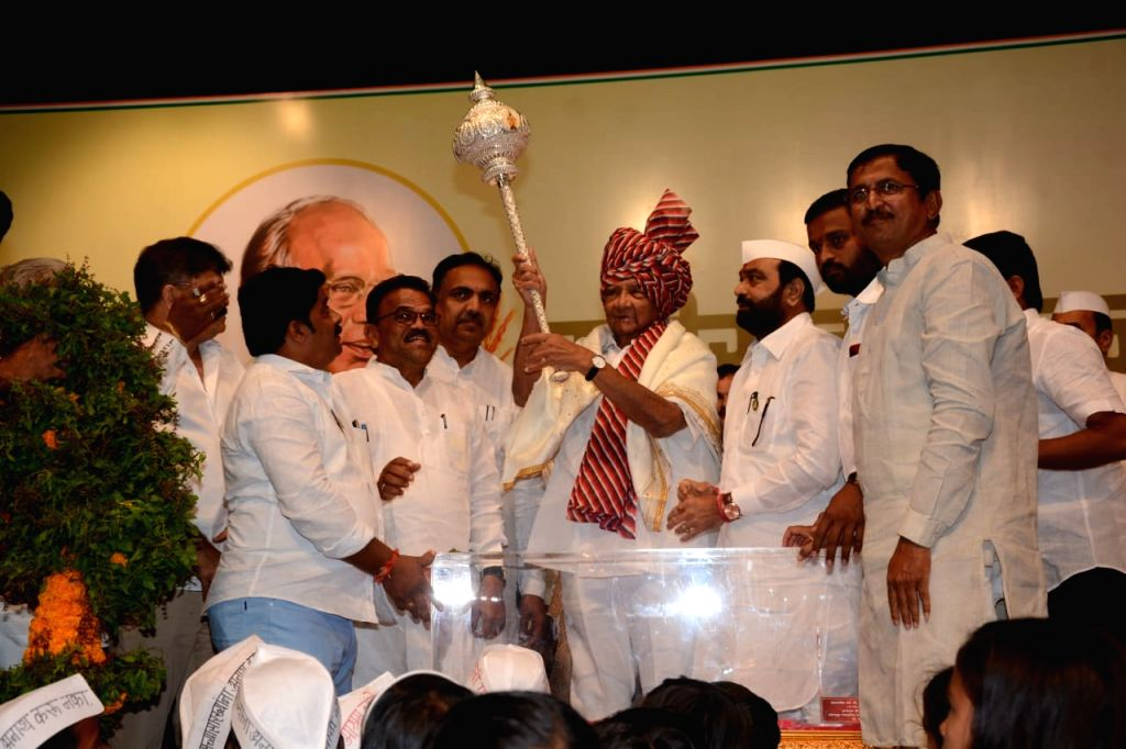 NCP chief Sharad Pawar during his 80th birthday celebrations at YB Chavan Centre in Mumbai on Dec 12, 2019.