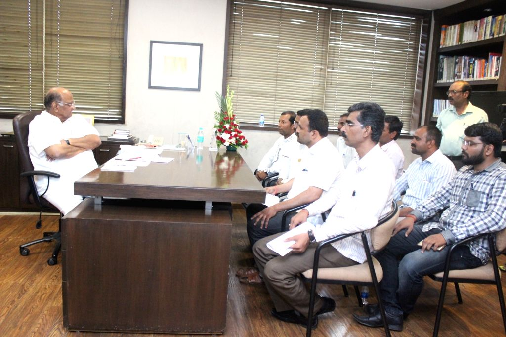 NCP chief Sharad Pawar meets Puntamba farmers in Mumbai on June 26, 2017.