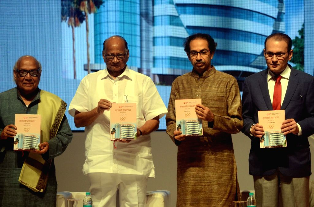 NCP chief Sharad Pawar, Shiv Sena chief Uddhav Thackeray, Saraswat Bank's CEO Gautam Thakur and writer Madhu Mangesh Karnik during the Centenary celebration ceremony of Saraswat Bank in ...