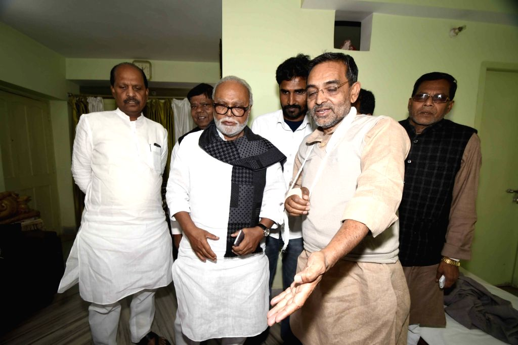 NCP leader Chhagan Bhujbal meets RLSP chief Upendra Kushwaha, who sustained injuries in 2nd Feb police lathi charge in Patna, on Feb 5, 2019. He was leading a state-wide strike against the ...