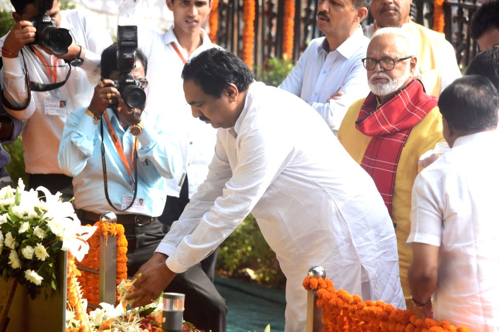 NCP leaders Chhagan Bhujbal and Jayant Patil pay tribute to former Sena supremo Bal Thackeray's on his 7th death anniversary at Shivaji Park Memorial in Mumbai on Nov. 17, 2019. - Jayant Patil
