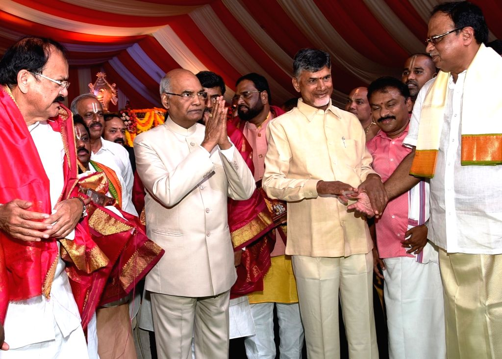 NDA's presidential candidate Ram Nath Kovind during a meeting of the leaders of Telugu Desam Party (TDP) in Vijayawada on July 4, 2017. Also seen Union Ministers M Venkaiah Naidu and ... - M Venkaiah Naidu, Andhra Pradesh Chief Minister, Nath Kovind and N Chandrababu Naidu
