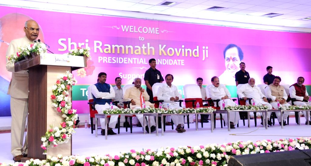 NDA's presidential candidate Ram Nath Kovind addresses during a meeting of the leaders of Telangana Rashtra Samithi (TRS) in Hyderabad on July 4, 2017. - Nath Kovind