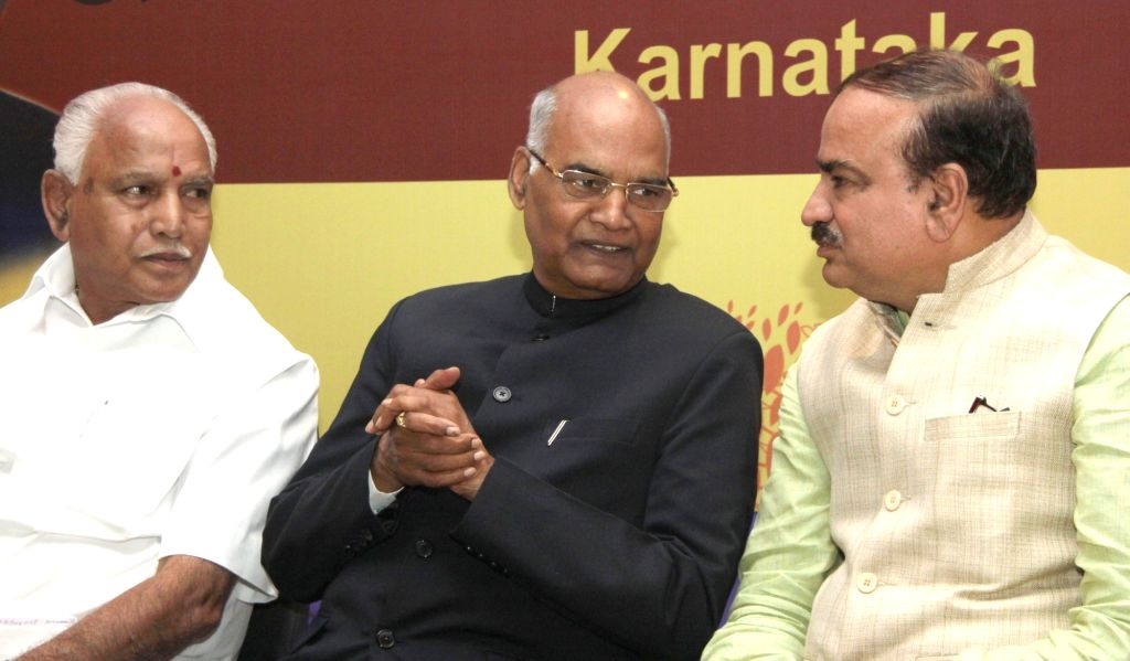NDA's presidential candidate Ram Nath Kovind with B. S. Yeddyurappa and Ananth Kumar during a programme in Bengaluru, on July 5, 2017. - Nath Kovind and Ananth Kumar