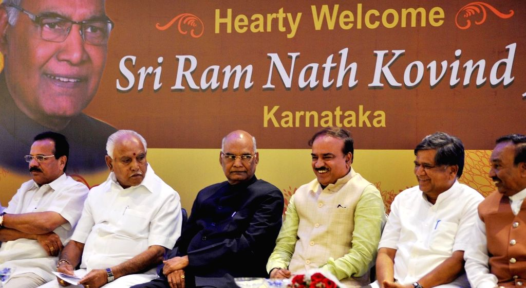 NDA's presidential candidate Ram Nath Kovind with BJP leaders B. S. Yeddyurappa, Ananth Kumar and D. V. Sadananda Gowda during a programme in Bengaluru, on July 5, 2017. - Nath Kovind and Ananth Kumar