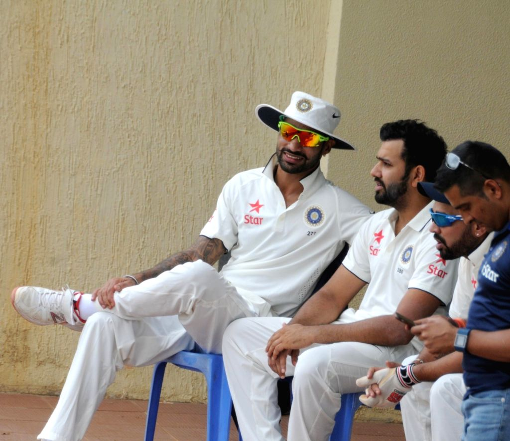 ndian Cricketers Shikar Dhawan and Rohit Sharma  during a practice match on the fifth day of the preparatory camp held ahead of West Indies tour, in Bengaluru on July 3, 2016. - Rohit Sharma