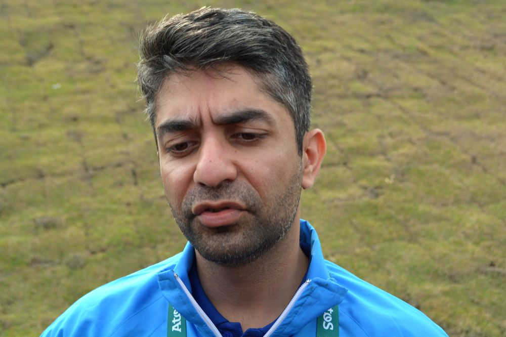 ndian shooter Abhinav Bindra speaking to media after coming fourth in the 10m air rifle event at the Olympic Shooting Centre in Rio de Janeiro on Aug. 8, 2016.