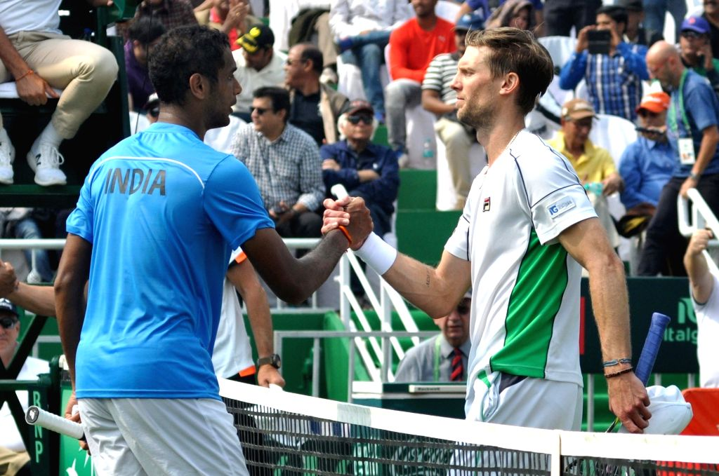 ndian tennis player Ramkumar Ramanathan and Italy's Andreas Seppi during a Davis Cup World Group rubber in Kolkata, on Feb 1, 2019.
