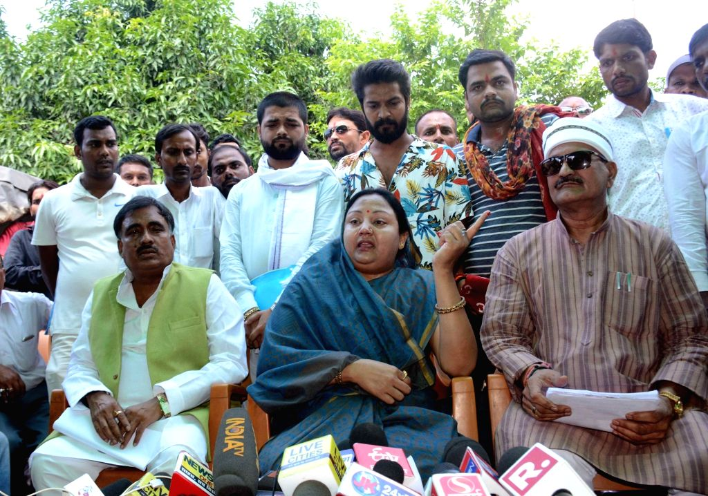 Neelam Devi, wife of controversial Bihar MLA Anant Singh addresses a press conference in Patna, on Aug 27, 2019. - Anant Singh