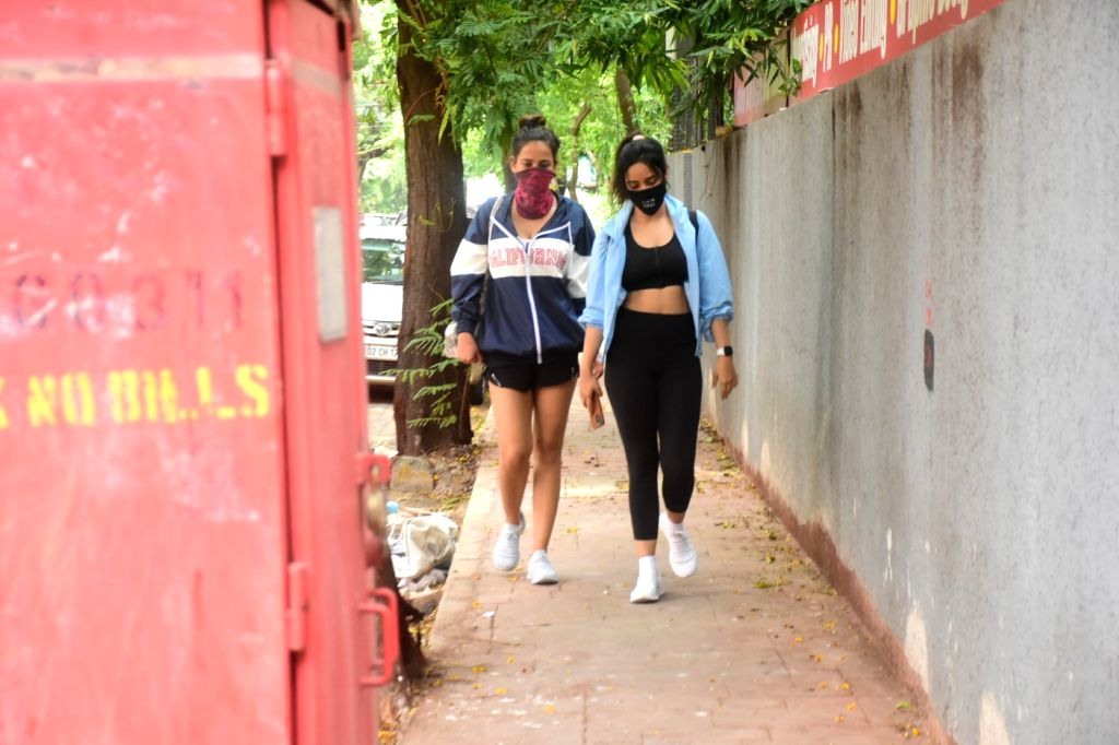 Neha and Aisha Sharma Spotted In Gym In Bandra  On Saturday, 5 June, 2021.