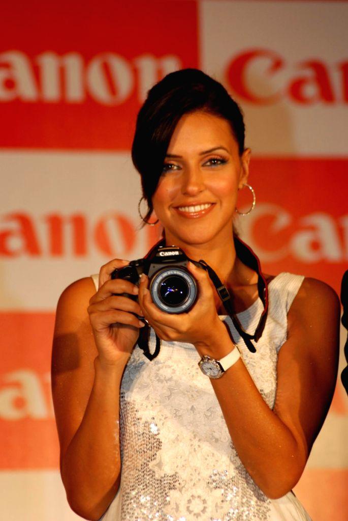 Neha Dhupia on new Canon cameras launch event at ITC Grand Maratha.
