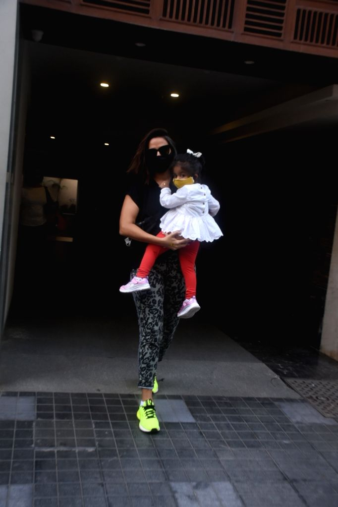 Neha Dhupia Spotted With Her Daughter in Khar on Tuesday 23rd February 2021. - Neha Dhupia