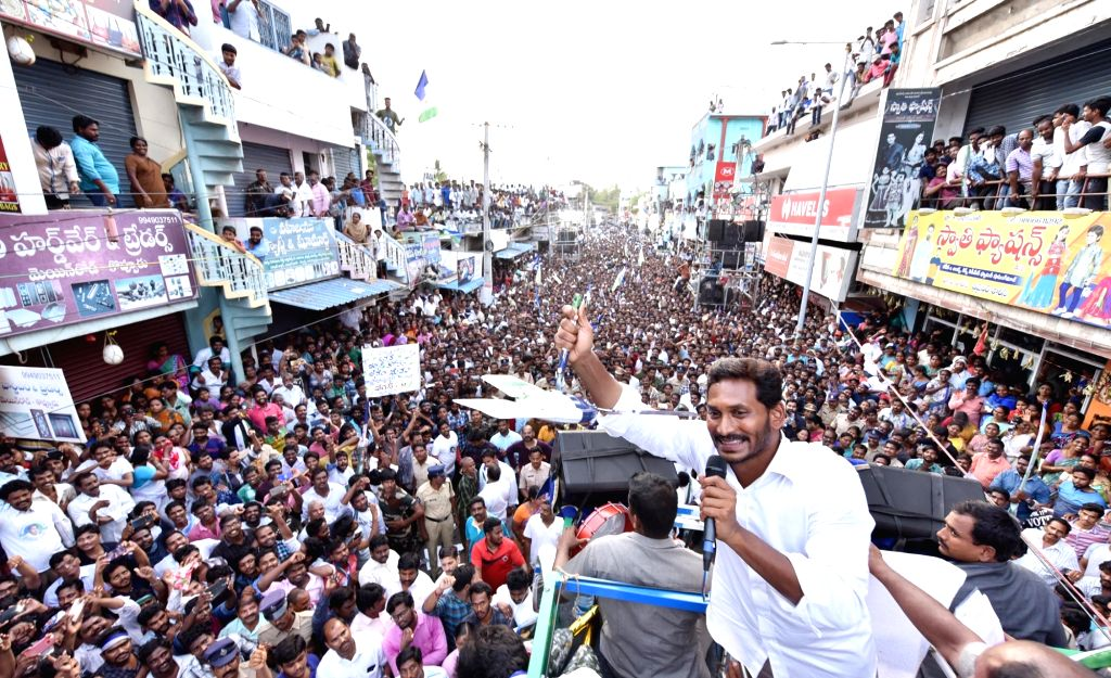 NelloreL Y S R Congress chief YS Jaganmohan Reddy during election campaign in Kovur of Andhra Pradesh's Nellore district on April 8, 2019. (Photo: IANS) - Jaganmohan Reddy
