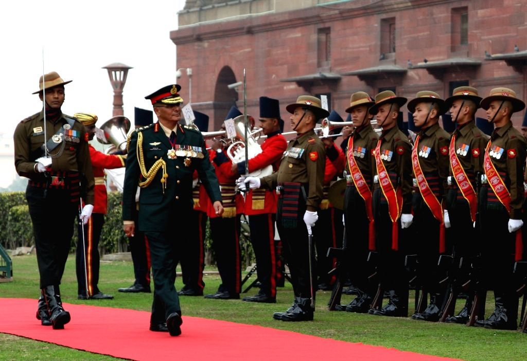 Nepal Army Chief General Purna Chandra Thapa inspects the Guard of Honour, in New Delhi, on Jan 12, 2019.