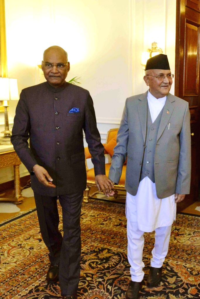Nepal Prime Minister K.P. Sharma Oli, called on the President Ram Nath Kovind at Rashtrapati Bhavan on April 7, 2018. - K., P. Sharma Oli and Nath Kovind