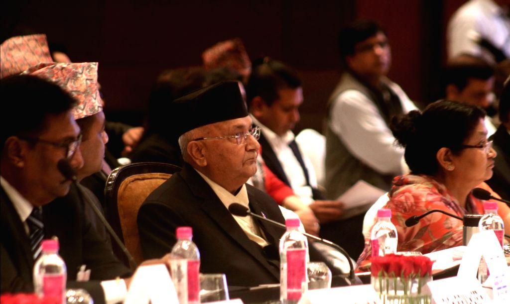 Nepal's Prime Minister KP Sharma Oli at India-Nepal Business Forum in New Delhi on April 6, 2018. - K
