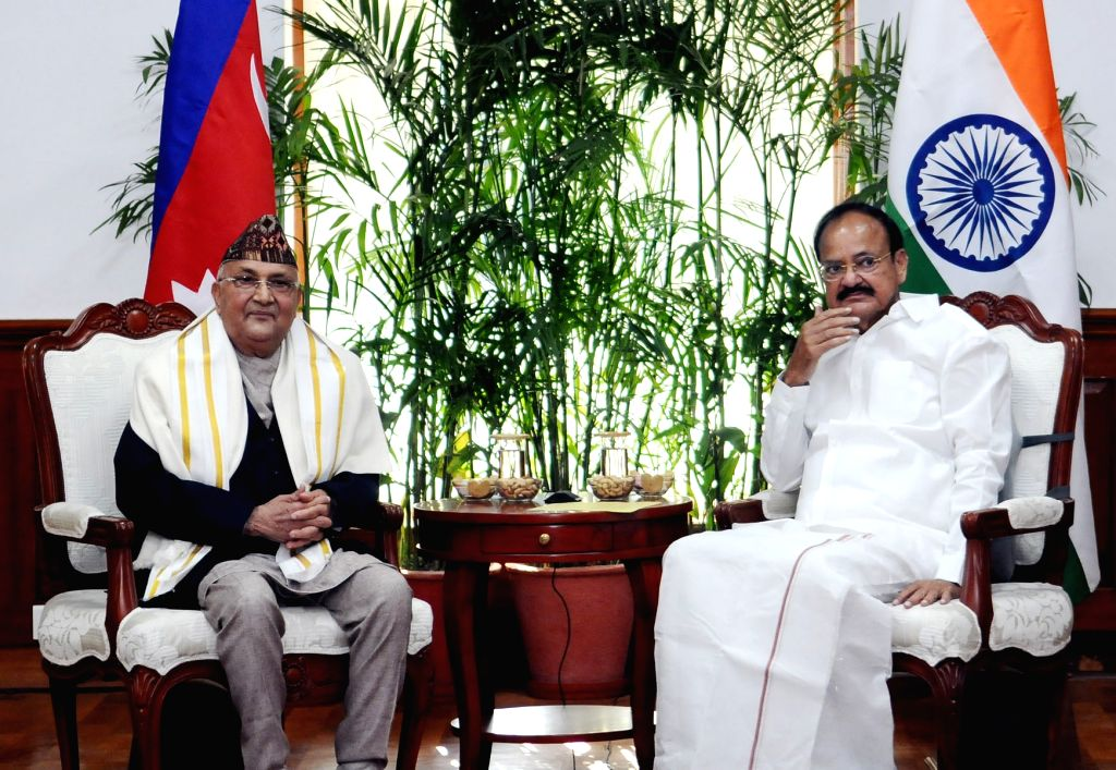 Nepalese Prime Minister K.P. Sharma Oli meets Vice President M. Venkaiah Naidu, in New Delhi on April 7, 2018. - K., M. Venkaiah Naidu and P. Sharma Oli