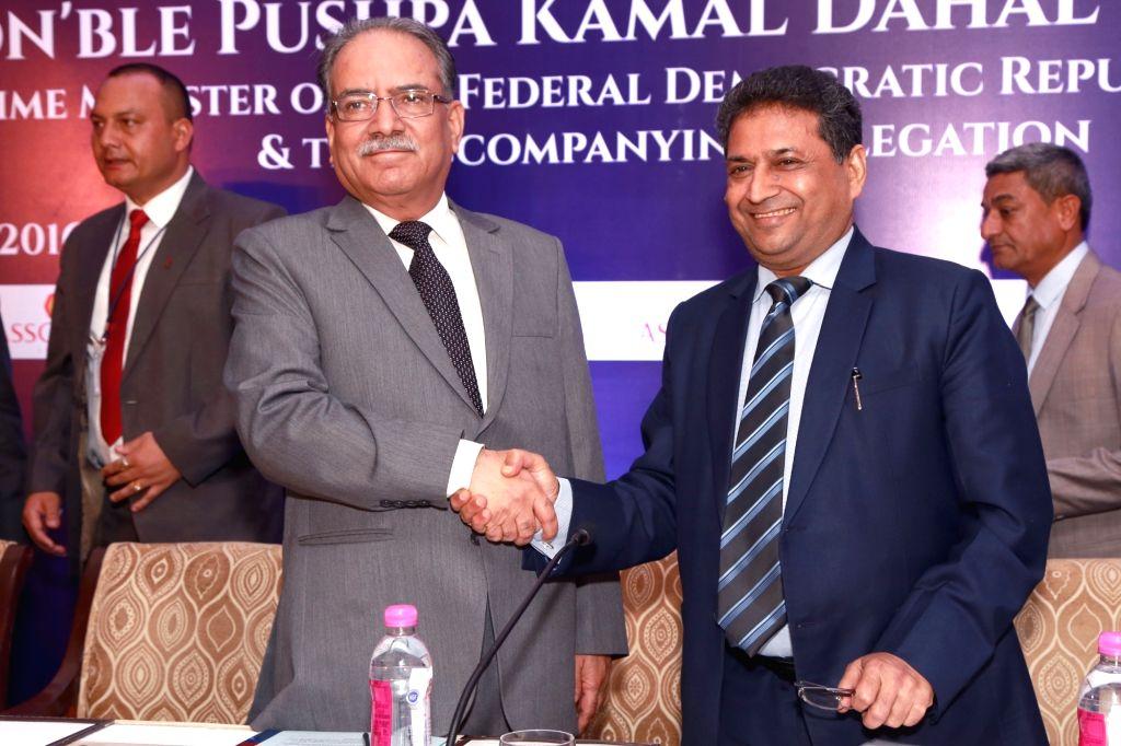 "Nepalese Prime Minister Puhspa Kamal Dahal ""Prachanda"" during an ASSOCHAM programme in in New Delhi, on Sept 16, 2016. - Puhspa Kamal Dahal"