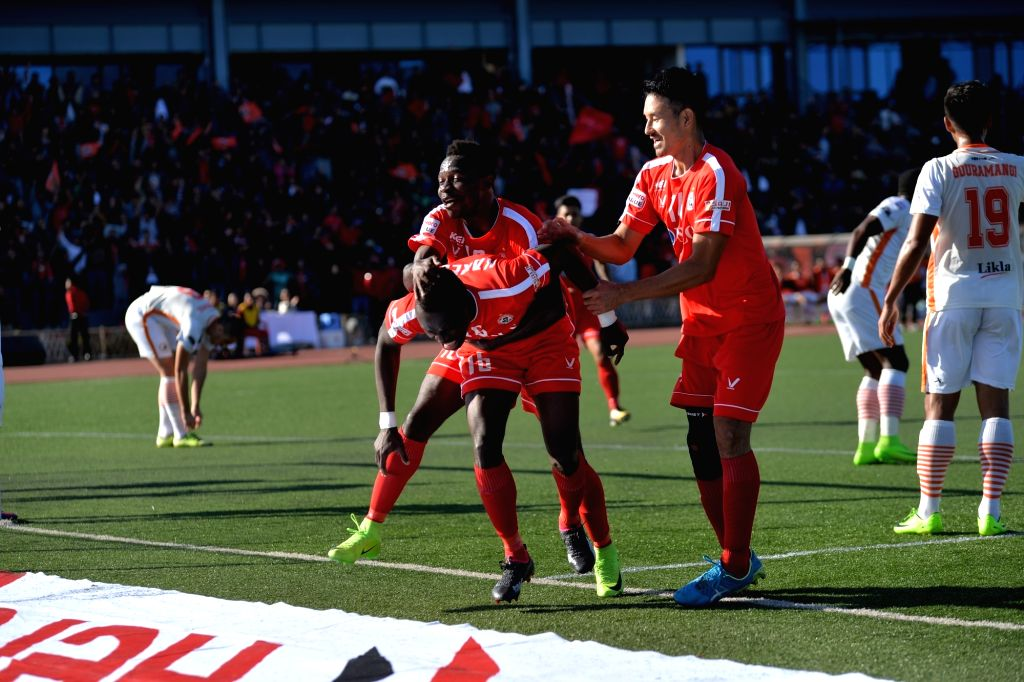 Neroca FC players celebrate a goal during an I-League match against Aizawl FC at the Rajiv Gandhi Stadium in Aizawl on Jan 20, 2018. - Rajiv Gandhi Stadium