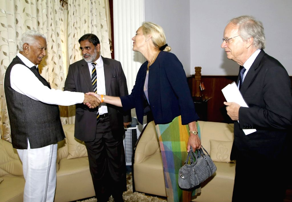 Netherlands Minister for Foreign Trade and Development Cooperation Sigrid Kaag calls on Karnataka Governor Vajubhai Rudabhai Vala at Raj Bhawan in Bengaluru on May 25, 2018.