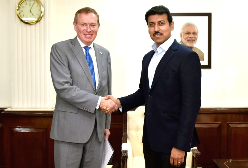 Netherlands Minister for Medical Care and Sports Bruno Bruins calls on the Union MoS for Youth Affairs and Sports and Information & Broadcasting (I/C), Col. Rajyavardhan Singh Rathore, ... - Rajyavardhan Singh Rathore