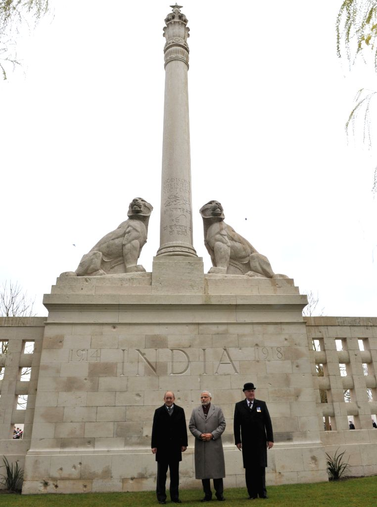 Neuve-Chapelle: Prime Minister Narendra Modi at the World War I Memorial, in Neuve-Chapelle, France on April 11, 2015. - Narendra Modi
