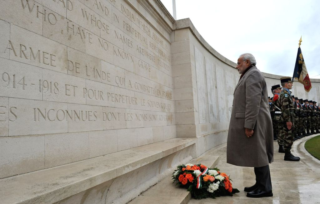 Neuve-Chapelle: Prime Minister Narendra Modi pays homage at the World War I Memorial, in Neuve-Chapelle, France on April 11, 2015. - Narendra Modi