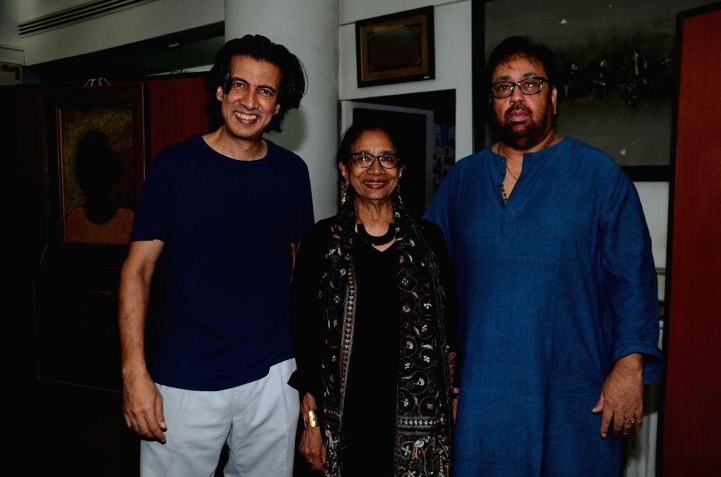 Neville Tuli-Chairman,Osian's Group,Uma Da Cunha & Pankaj Parasha during the opening preview of The Osian Group`s The Greatest Indian Show on Earth 2, in Mumbai on June 16, 2017.
