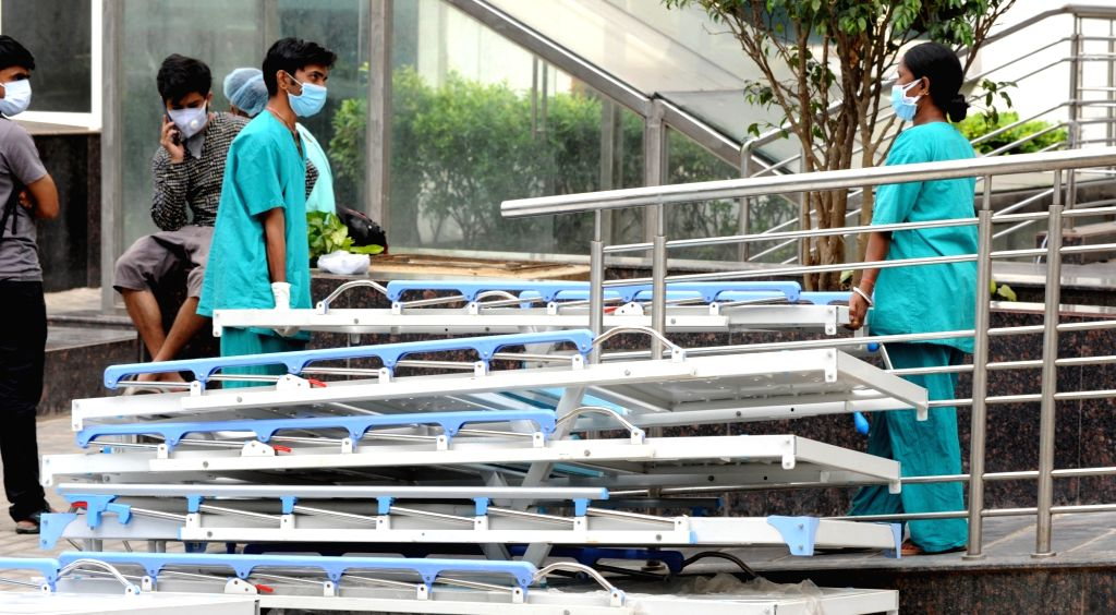 New beds have been brought for Covid department at Kolkata Medical College hospital during the increasing numbers of COVID 19 patients in Kolkata on April 23, 2021.