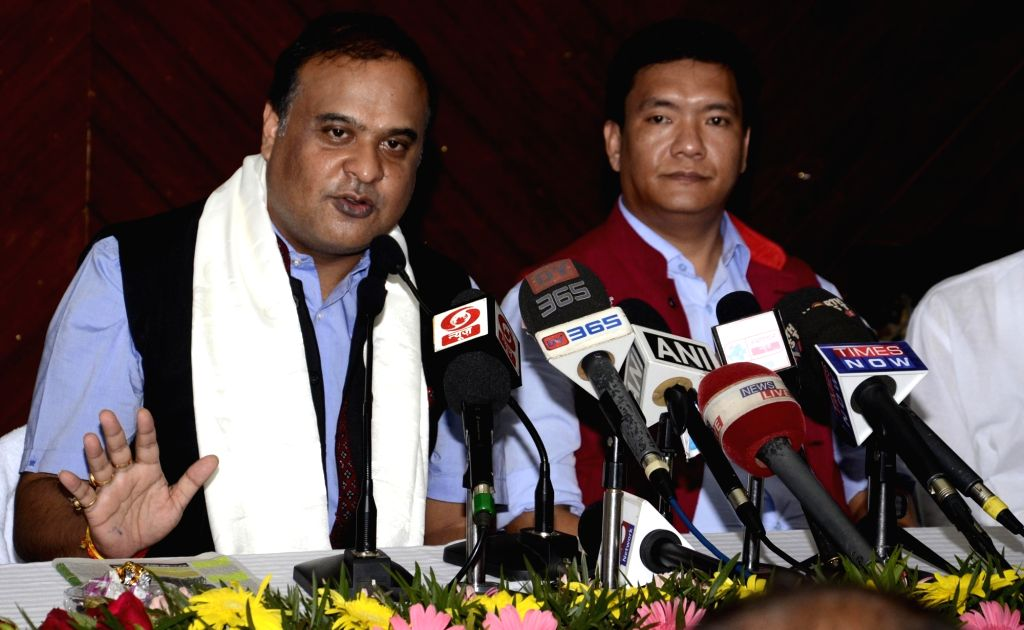 New BJP leader and North East Democratic Alliance (NEDA) convener Himanta Biswa Sarma and Arunachal Pradesh Chief Minister Pema Khandu address a press conference in Itanagar, on Sept 18, 2016. - Pema Khandu