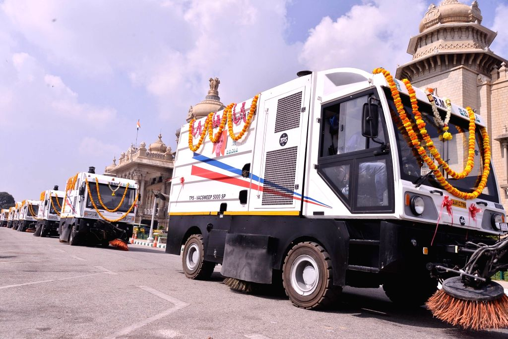 New Bruhat Bengaluru Mahanagara Palike (BBMP) Mechanical Sweeper vehicles that were inaugurated and flagged off by Karnataka Chief Minister B S Yediyurappa at Vidhana Soudha, in Bengaluru ... - B S Yediyurappa