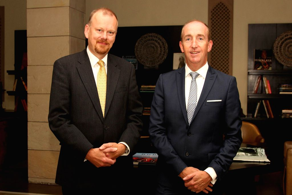 New Call Telecom Chairman Dr. Jerome Booth and company's CEO Nigel Eastwood during a press conference in New Delhi on Aug 19, 2014.