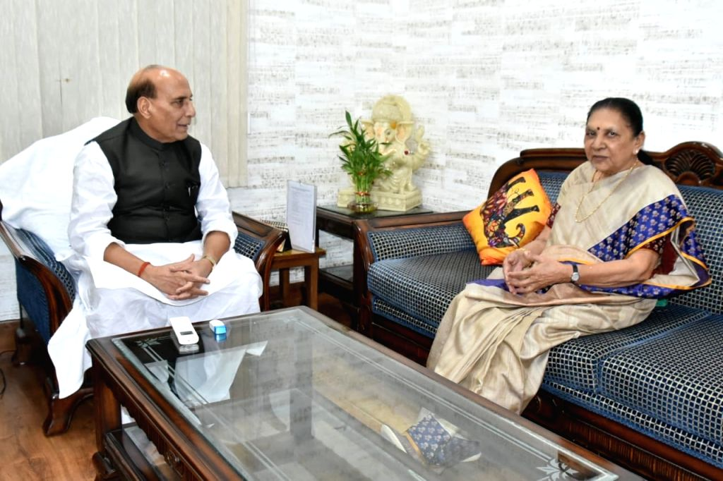 New Dehi: Uttar Pradesh Governor Anandiben Patel meets Defence Minister Rajnath Singh, in New Delhi on Aug 19, 2019. - Rajnath Singh and Anandiben Patel