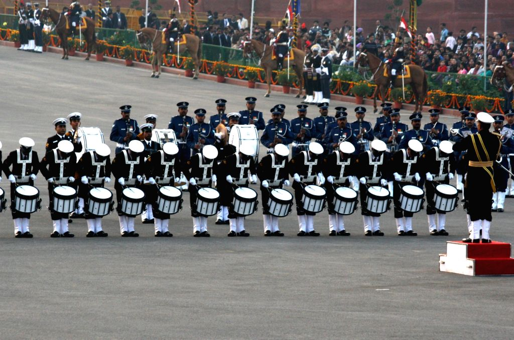 New Delhi, 28 Jan 2013 -The Beating retreat at the occasion of the Republic Day celebrations in New Delhi. (Photo: IANS/Amlan)