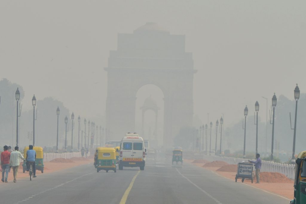 New Delhi: A blanket of smog envelops New Delhi on Oct 28, 2019. The air quality in Delhi became severe on Monday for the first time this season after Diwali celebrations.On Monday morning, Delhi's air quality had particulate matter (PM) at 10 count,
