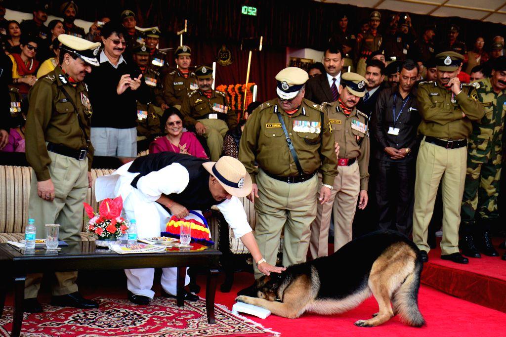 A BSF dog salutes Union Home Minister Rajnath Singh during  BSF Raising Day parade New Delhi  on Dec 1, 2014. - Rajnath Singh