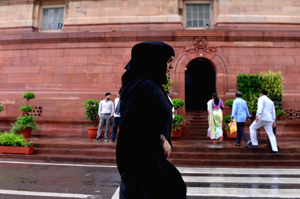 New Delhi:A burqa lady clad woman at Parliament premises in New Delhi on July 18, 2019.