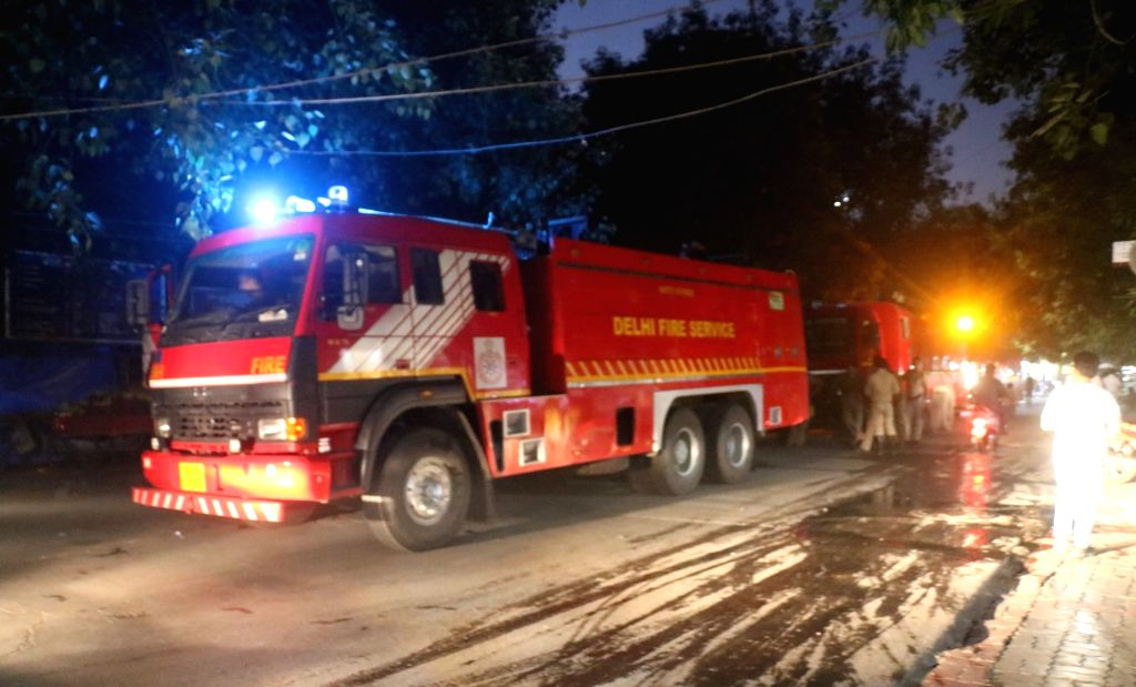 New Delhi: A fire engine outside Vikas Bhawan where a fire broke out on Aug 27, 2019. According to a senior fire official, the fire broke out on the second floor at the office of the Delhi Commission for Women (DCW). (Photo: IANS)