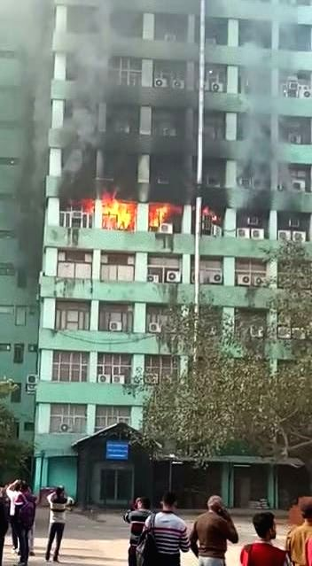 New Delhi: A fire that broke out on the fifth floor of the Pandit Deendayal Antyodaya Bhawan at the CGO complex, in New Delhi, on March 6, 2019. The blaze was first noticed at around 8.30 a.m., several fire tenders were rushed to the spot. (Photo: IA