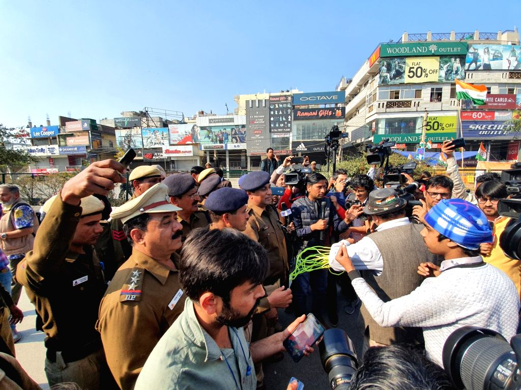 New Delhi: A group of protesters who were trying to take out a protest march against the CAA, NRC and NPR dispersed by the police after they were denied permission for the march at Delhi's Shaheen Bagh on Feb 16, 2020. (Photo: IANS)