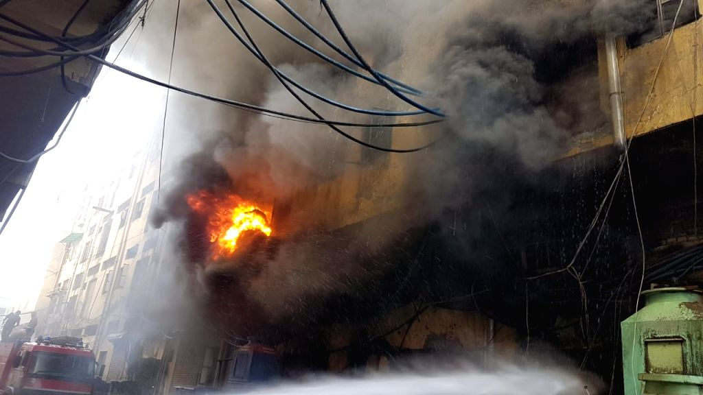 New Delhi: A major fire broke out at shoes manufacturing factory in Delhi's Keshavpuram on May 26, 2020. (Photo: IANS)