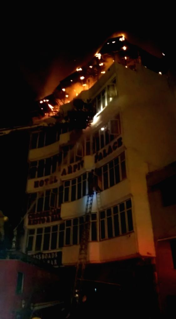 New Delhi: A massive fire breaks out at Hotel Arpit Palace in Karol Bagh killing seventeen people, including a child and injuring three others in New Delhi on Feb 12, 2019. (Photo: IANS)